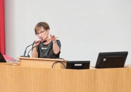 Professor Goldenberg answering questions