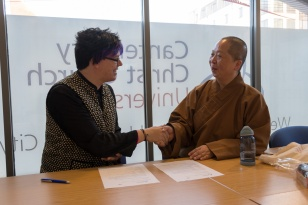 Meeting to organise the workshop: Focusing on Humanity (人間): Buddhist living in/and/for Contemporary Society (Prof. Bee Scherer and Ven. Miao Shiang)