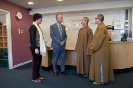 (From Left to Right) Professor Bee Scherer (Director of INCISE at CCCU), Marco Keir (Director of Marketing and Communications at CCCU) Venerable Miao Shiang (Abbess of Fo Guang Shan London) and Venerable Miao Lung (Fo Guang Shan London)